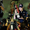 GEPA-25091199046 - FORMULA 1 - Grand Prix of Singapore. Image shows the rejoicing of Sebastian Vettel (GER/ Red Bull Racing). Keywords: camera, trophy. Photo: Getty Images/ Paul Gilham - For editorial use only. Image is free of charge