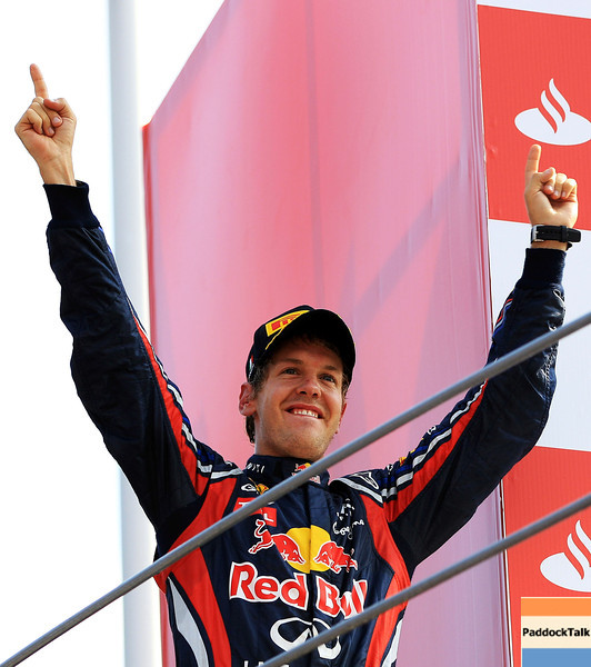 GEPA-11091199003 - FORMULA 1 - Grand Prix of Italy. Image shows Sebastian Vettel (GER/ Red Bull Racing). Keywords: podium, award ceremony. Photo: Getty Images/ Vladimir Rys - For editorial use only. Image is free of charge