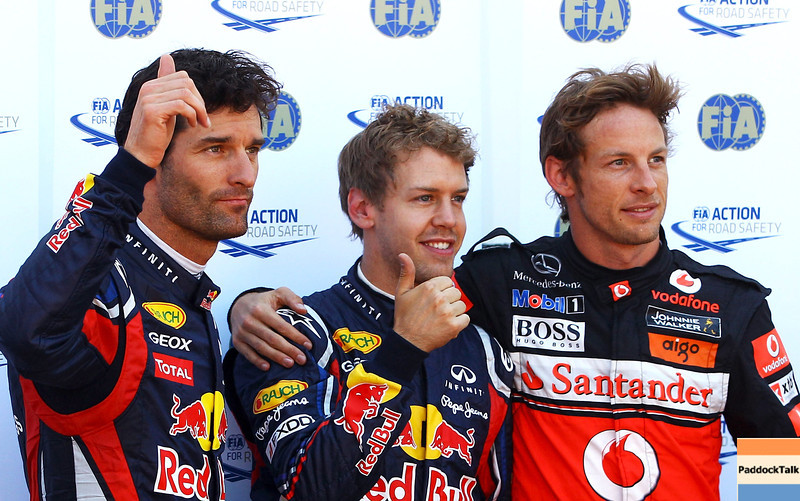 GEPA-28051199008 - FORMULA 1 - Grand Prix of Monaco. Image shows Mark Webber (AUS), Sebastian Vettel (GER/ Red Bull Racing) and Jenson Button (GBR/ McLaren Mercedes). Photo: Vladimir Rys/ Getty Images - For editorial use only. Image is free of charge