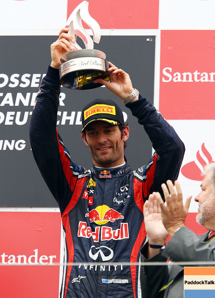 GEPA-24071199008 - FORMULA 1 - Grand Prix of Germany, Nuerburgring. Image shows Mark Webber (AUS/ Red Bull Racing). Keywords: podium, trophy. Photo: Getty Images/ Mark Thompson - For editorial use only. Image is free of charge