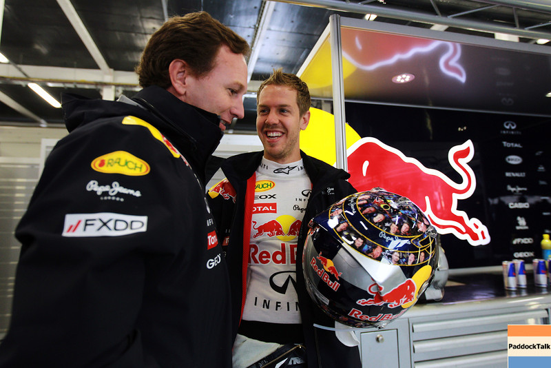 GEPA-08071199005 - FORMULA 1 - Grand Prix of Great Britain. Image shows team principer Christian Horner (Red Bull Racing) and Sebastian Vettel (GER/ Red Bull Racing). Keywords: Helmet. Photo: Getty Images/ Paul Gilham - For editorial use only. Image is free of charge