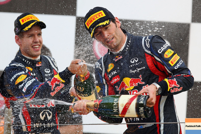 GEPA-16101199023 - FORMULA 1 - Grand Prix of South Korea, Korean International Circuit. Image shows Mark Webber (AUS) and Sebastian Vettel (GER/ Red Bull Racing). Keywords: champagne, award ceremony. Photo: Getty Images/ Clive Mason - For editorial use only. Image is free of charge