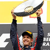 GEPA-28081199005 - FORMULA 1 - Grand Prix of Belgium, Spa Francorchamps. Image shows the rejoicing of Sebastian Vettel (GER/ Red Bull Racing). Keywords: award ceremony, trophy. Photo: Getty Images/ Mark Thompson - For editorial use only. Image is free of charge