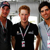 GEPA-10071199006 - FORMULA 1 - Grand Prix of Great Britain. Image shows Cricketer Stuart Broad (ENG), Prince Harry and Cricketer Alistair Cook (ENG). Photo: Getty Images/ Mark Thompson - For editorial use only. Image is free of charge