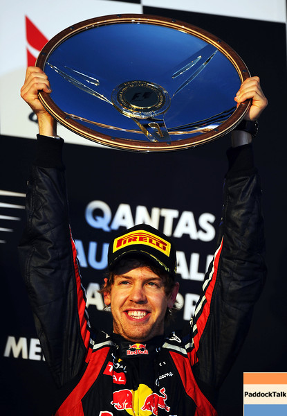 GEPA-27031199011 - FORMULA 1 - Grand Prix of Australia, award ceremony. Image shows the rejoicing of Sebastian Vettel (GER/ Red Bull Racing). Keyword: trophy. Photo: Getty Images/ Clive Mason - For editorial use only. Image is free of charge