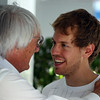 GEPA-24111199008 - FORMULA 1 - Grand Prix of Brazil, Interlagos. Image shows Bernie Ecclestone and Sebastian Vettel (GER/ Red Bull Racing). Photo: Getty Images/ Clive Mason - For editorial use only. Image is free of charge