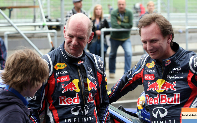 GEPA-14051134149 - SPIELBERG,AUSTRIA,14.MAY.11 - MOTORSPORT, FORMULA 1 - Media Day Red Bull Ring, project Spielberg. Image shows technical officer Adrian Newey and team principal Christian Horner (Red Bull Racing). Photo: GEPA pictures/ Markus Oberlaender - For editorial use only. Image is free of charge.