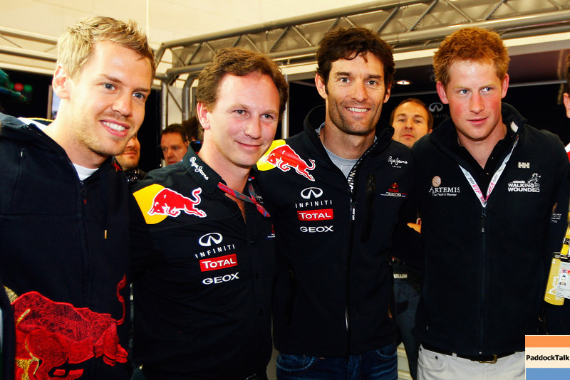 GEPA-10071199008 - FORMULA 1 - Grand Prix of Great Britain. Image shows Sebastian Vettel (GER), team principal Christian Horner, Mark Webber (AUS/ Red Bull Racing) and Prince Harry. Photo: Getty Images/ Mark Thompson - For editorial use only. Image is free of charge