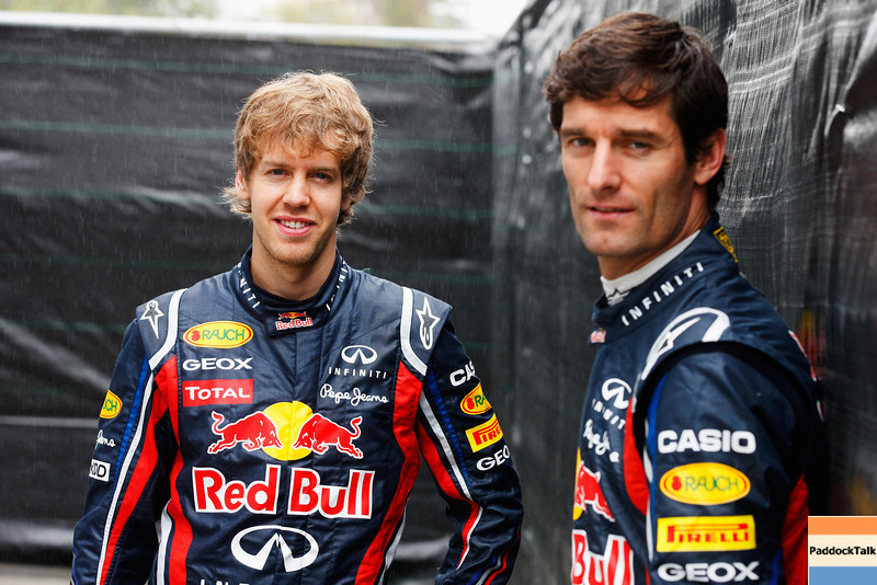 GEPA-24031199011 - FORMULA 1 - Grand Prix of Australia, preview, photo shoot. Image shows Sebastian Vettel (GER) and Mark Webber (AUS/ Red Bull Racing). Photo: Getty Images/ Mark Thompson - For editorial use only. Image is free of charge