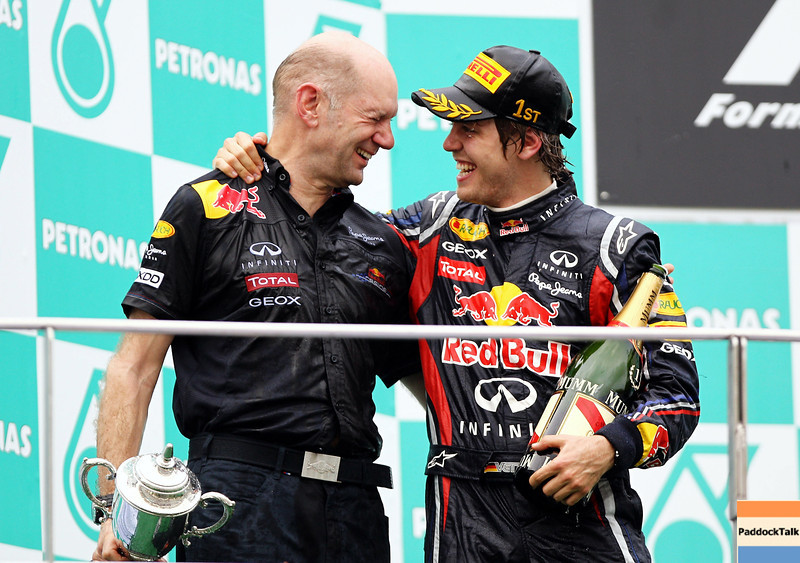 GEPA-10041199010 - FORMULA 1 - Grand Prix of Malaysia, Sepang Circuit. Image shows Chief Technical Officer Adrian Newey and Sebastian Vettel (GER/ Red Bull Racing). Keywords: award ceremony, podium, trophy. Photo: Getty Images/ Paul Gilham - For editorial use only. Image is free of charge