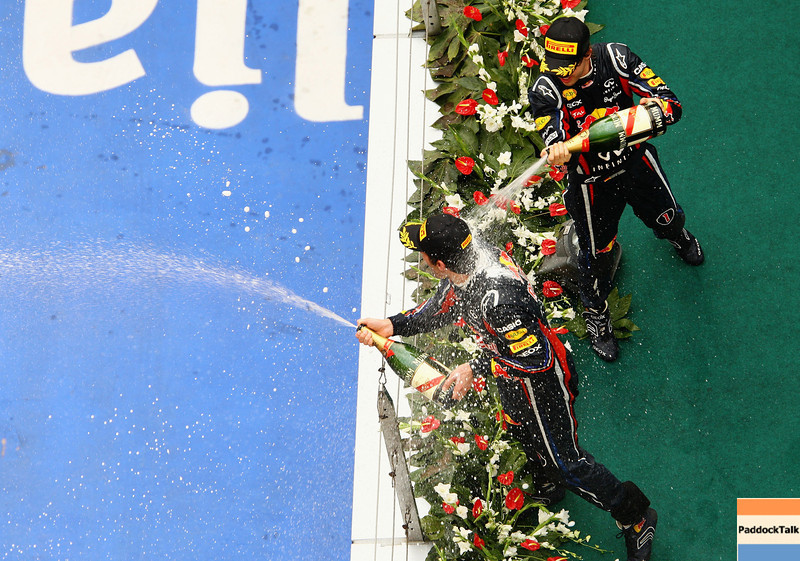 GEPA-17041199007 - FORMULA 1 - Grand Prix of China. Image shows Mark Webber (AUS) and Sebastian Vettel (GER/ Red Bull Racing). Photo: Getty Images/ Paul Gilham - For editorial use only. Image is free of charge