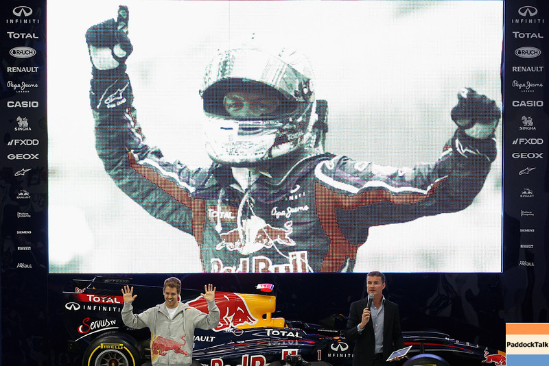 GEPA-19101199000 - FORMULA 1 - Red Bull Racing press conference at the Red Bull Racing factory. Image shows Sebastian Vettel (GER/ Red Bull Racing) and David Coulthard. Photo: Getty Images/ Dean Mouhtaropoulos - For editorial use only. Image is free of charge