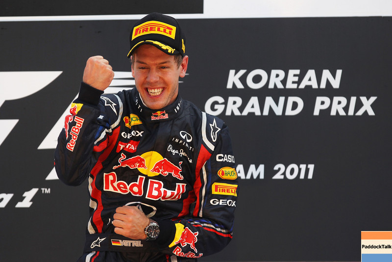 GEPA-16101199025 - FORMULA 1 - Grand Prix of South Korea, Korean International Circuit. Image shows the rejoicing of Sebastian Vettel (GER/ Red Bull Racing). Keywords: award ceremony. Photo: Getty Images/ Clive Rose - For editorial use only. Image is free of charge