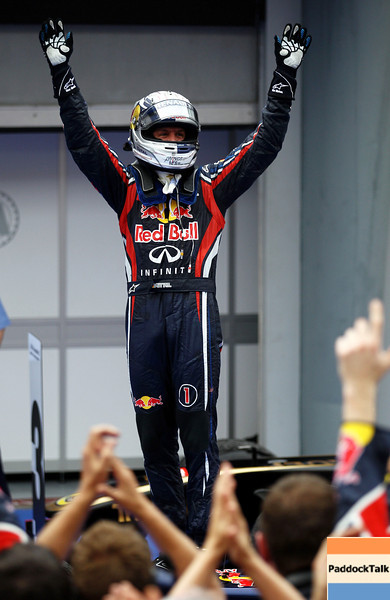 GEPA-10041199019 - FORMULA 1 - Grand Prix of Malaysia, Sepang Circuit. Image shows the rejoicing of Sebastian Vettel (GER/ Red Bull Racing). Photo: Getty Images/ Paul Gilham - For editorial use only. Image is free of charge