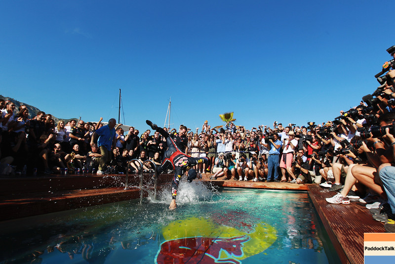 GEPA-29051199021 - FORMULA 1 - Grand Prix of Monaco. Image shows Sebastian Vettel (GER/ Red Bull Racing) dives into the Red Bull Racing Energy Station swimming pool. Photo: Paul Gilham/ Getty Images - For editorial use only. Image is free of charge