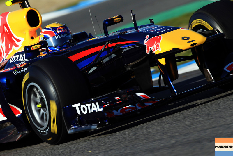 GEPA-12021199007 - FORMULA 1 - Testing in Jerez. Image shows Mark Webber (AUS/ Red Bull Racing). Photo: Mark Thompson/ Getty Images - For editorial use only. Image is free of charge