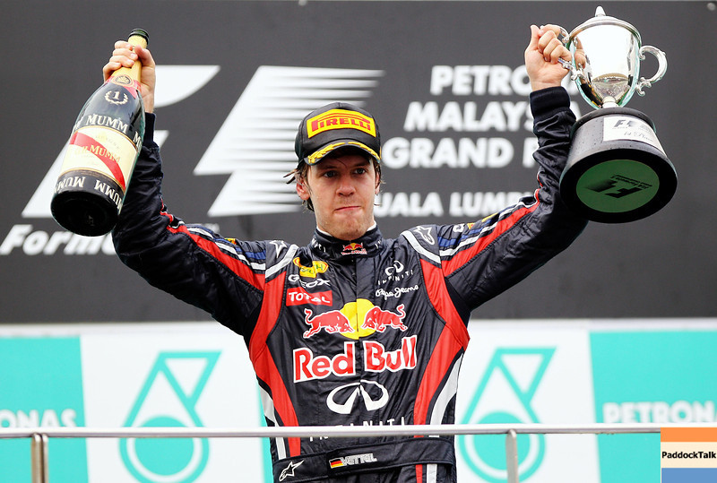 GEPA-10041199011 - FORMULA 1 - Grand Prix of Malaysia, Sepang Circuit. Image shows Sebastian Vettel (GER/ Red Bull Racing). Keywords: award ceremony, podium, trophy. Photo: Getty Images/ Paul Gilham - For editorial use only. Image is free of charge