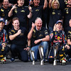GEPA-16101199018 - FORMULA 1 - Grand Prix of South Korea, Korean International Circuit. Image shows the rejoicing of Mark Webber (AUS), team prinicpal  Christian Horner, motorsport consultant Helmut Marko, Sebastian Vettel (GER) and team manager Jonathan Wheatley (Red Bull Racing). Keywords: trophies. Photo: Getty Images/ Clive Mason - For editorial use only. Image is free of charge