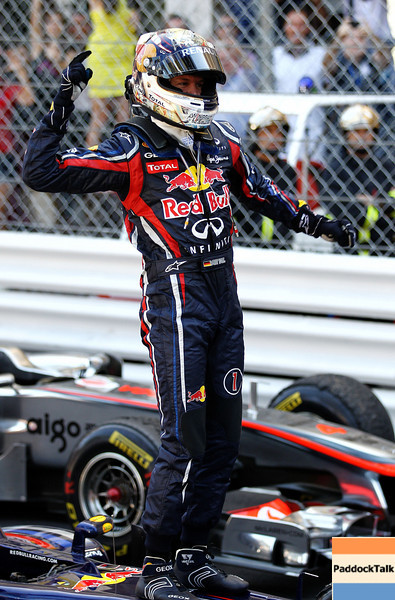 GEPA-29051199016 - FORMULA 1 - Grand Prix of Monaco. Image shows the rejoicing of Sebastian Vettel (GER/ Red Bull Racing). Photo: Paul Gilham/ Getty Images - For editorial use only. Image is free of charge