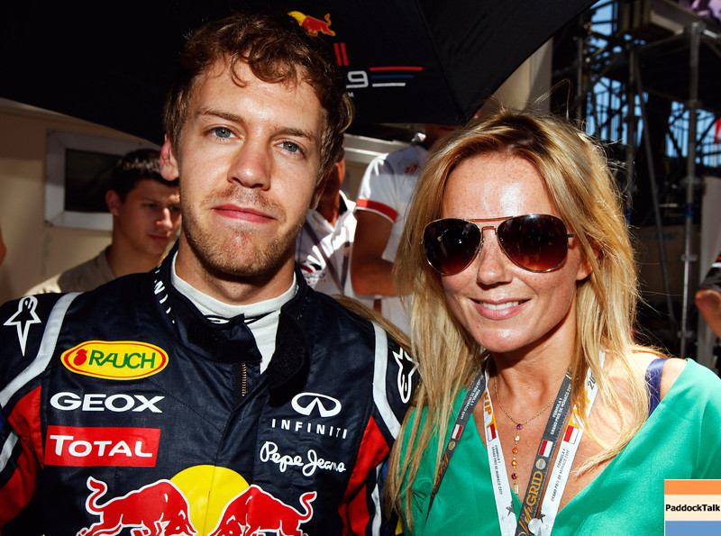GEPA-29051199003 - FORMULA 1 - Grand Prix of Monaco. Image shows Sebastian Vettel (GER/ Red Bull Racing) and Geri Halliwell. Photo: Mark Thompson/ Getty Images - For editorial use only. Image is free of charge