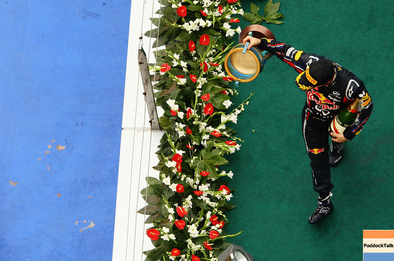 GEPA-17041199008 - FORMULA 1 - Grand Prix of China. Image shows Sebastian Vettel (GER/ Red Bull Racing). keywords: trophy. Photo: Getty Images/ Paul Gilham - For editorial use only. Image is free of charge