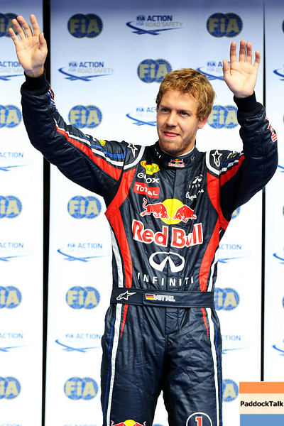 GEPA-27081199007 - FORMULA 1 - Grand Prix of Belgium, Spa Francorchamps. Image shows the rejoicing of Sebastian Vettel (GER/ Red Bull Racing). Photo: Getty Images/ Mark Thompson - For editorial use only. Image is free of charge