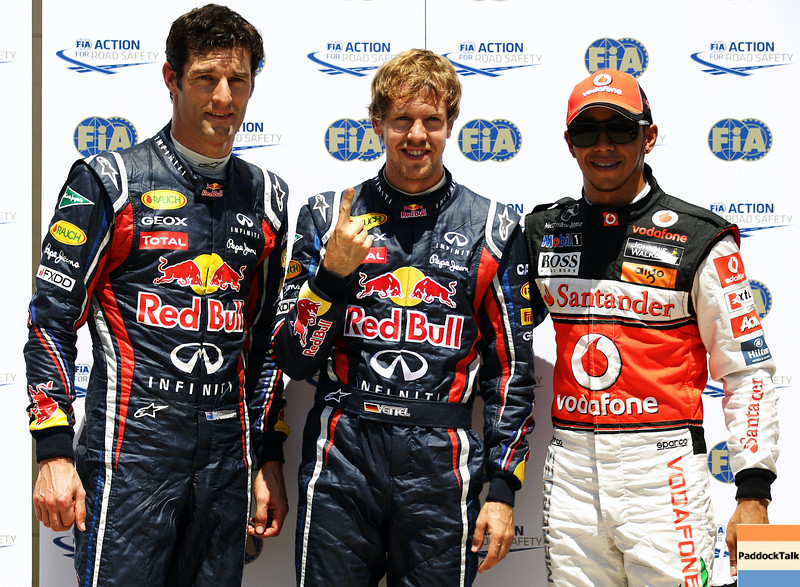 GEPA-25061199019 - FORMULA 1 - Grand Prix of Europe. Image shows Mark Webber (AUS), Sebastian Vettel (GER/ Red Bull Racing) and Lewis Hamilton (GBR/ McLaren Mercedes). Photo: Paul Gilham/ Getty Images - For editorial use only. Image is free of charge