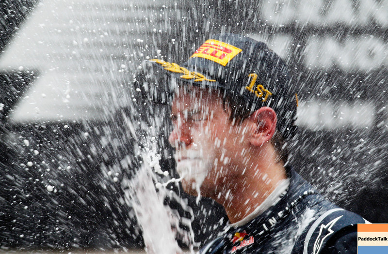 GEPA-30101199016 - FORMULA 1 - Grand Prix of India, Buddh-International-Circuit. Image shows Sebastian Vettel (GER/ Red Bull Racing). Keywords: award ceremony, podium, champagne. Photo: Getty Images/ Paul Gilham - For editorial use only. Image is free of charge