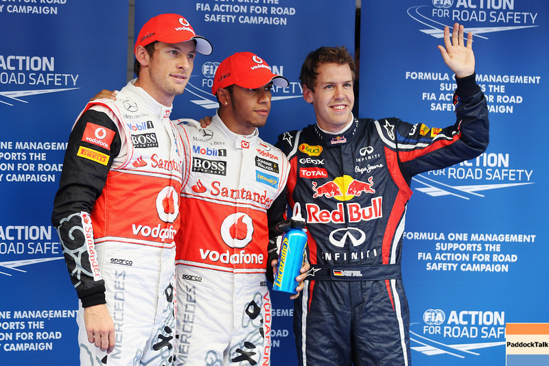 GEPA-15101199017 - FORMULA 1 - Grand Prix of South Korea, Korean International Circuit. Image shows Jenson Button, Lewis Hamilton (GBR/ McLaren Mercedes) und Sebastian Vettel (GER/ Red Bull Racing). Photo: Getty Images/ Mark Thompson - For editorial use only. Image is free of charge