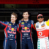 GEPA-21051199003 - FORMULA 1 - Grand Prix of Spain. Image shows Sebastian Vettel (GER), Mark Webber (AUS/ Red Bull Racing) und Lewis Hamilton (GBR/ McLaren Mercedes). Photo: Mark Thompson/ Getty Images - For editorial use only. Image is free of charge
