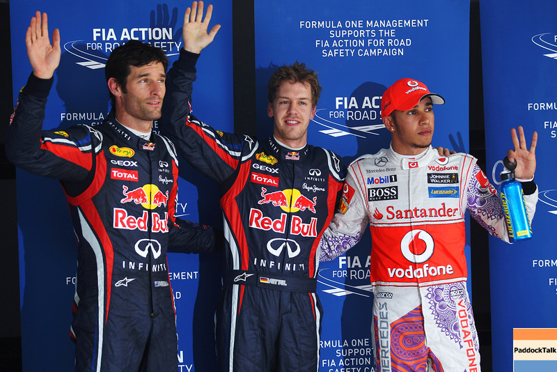 GEPA-29101199008 - FORMULA 1 - Grand Prix of India, Buddh-International-Circuit. Image shows Mark Webber (AUS/ Red Bull Racing), Sebastian Vettel (GER/ Red Bull Racing) and Lewis Hamilton (GBR/ McLaren Mercedes). Photo: Getty Images/ Mark Thompson - For editorial use only. Image is free of charge