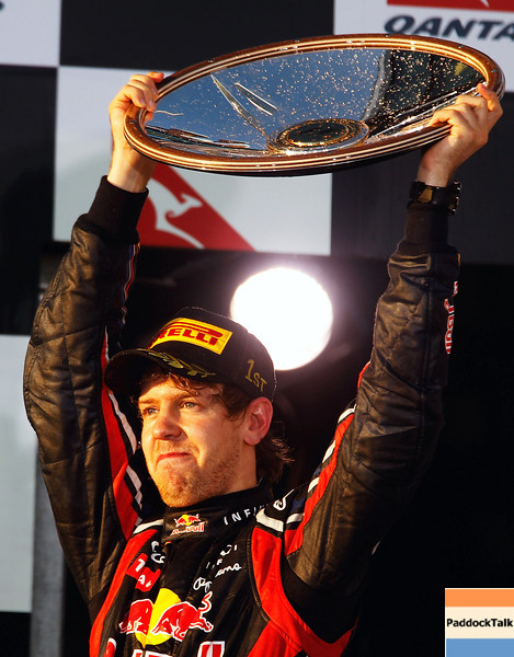 GEPA-27031199022 - FORMULA 1 - Grand Prix of Australia, award ceremony. Image shows the rejoicing of Sebastian Vettel (GER/ Red Bull Racing). Keyword: trophy. Photo: Getty Images/ Mark Thompson - For editorial use only. Image is free of charge