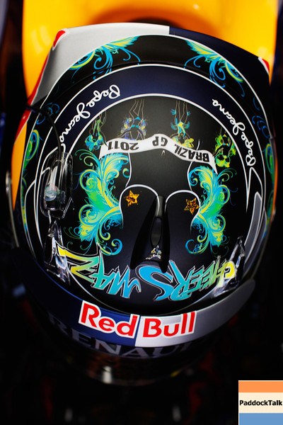 GEPA-25111199003 - FORMULA 1 - Grand Prix of Brazil, Interlagos. Image shows the helmet of Sebastian Vettel (GER/ Red Bull Racing). Photo: Getty Images/ Mark Thompson - For editorial use only. Image is free of charge