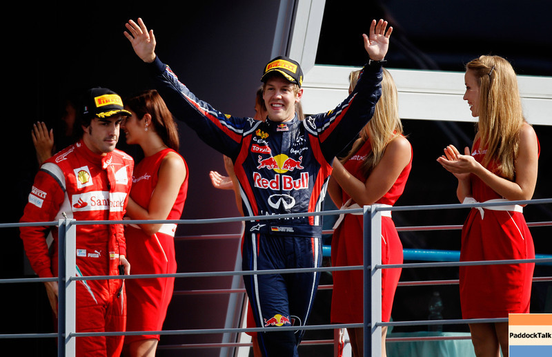 GEPA-11091199022 - FORMULA 1 - Grand Prix of Italy. Image shows the rejoicing of Sebastian Vettel (GER/ Red Bull Racing). Keywords: award ceremony. Photo: Getty Images/ Paul Gilham - For editorial use only. Image is free of charge