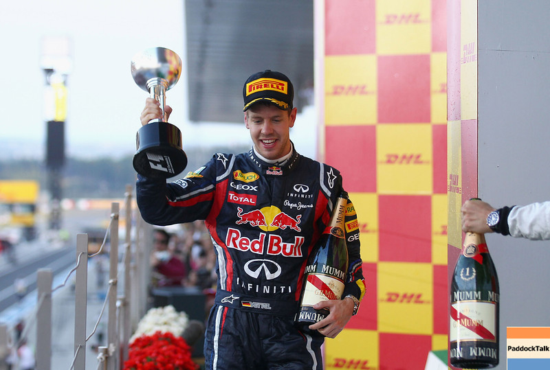 GEPA-09101199017 - FORMULA 1 - Grand Prix of Japan. Image shows the rejoicing of Sebastian Vettel (GER/ Red Bull Racing). Keywords: trophy. Photo: Getty Images/ Clive Mason - For editorial use only. Image is free of charge