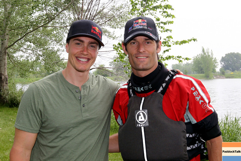 GEPA-08061199040 - FORMULA 1 - Grand Prix of Canada. Image shows alpine skier Erik Guay (CAN) and Mark Webber (AUS/ Red Bull Racing). Keywords: Red Bull kayaking event. Photo: Clive Rose/ Getty Images - For editorial use only. Image is free of charge