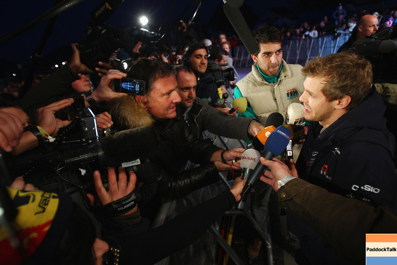 GEPA-22101199500 - FORMULA 1 - World Championship Party. Image shows Sebastian Vettel (GER/ Red Bull Racing) and journalists. Photo: Getty Images/ Alex Grimm - For editorial use only. Image is free of charge