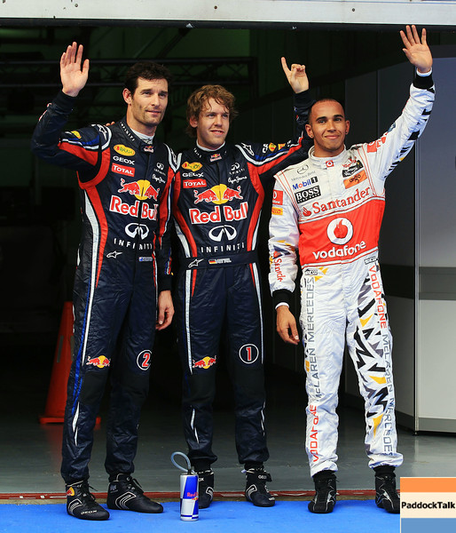 GEPA-09041199009 - FORMULA 1 - Grand Prix of Malaysia, Sepang Circuit. Image shows Mark Webber (AUS), Sebastian Vettel (GER/ Red Bull Racing) and Lewis Hamilton (GBR/ McLaren Mercedes).   Photo: Getty Images/ Mark Thompson - For editorial use only. Image is free of charge