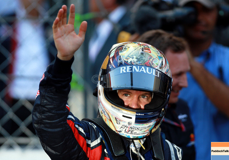 GEPA-29051199017 - FORMULA 1 - Grand Prix of Monaco. Image shows the rejoicing of Sebastian Vettel (GER/ Red Bull Racing). Photo: Paul Gilham/ Getty Images - For editorial use only. Image is free of charge