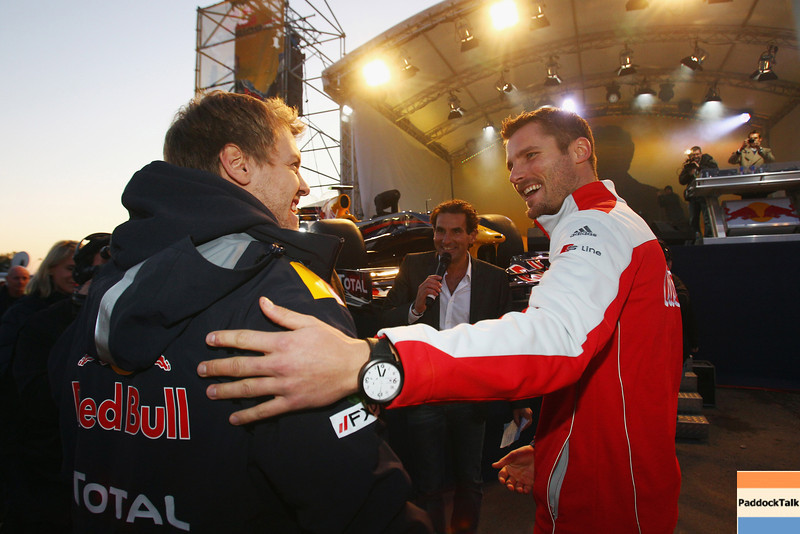 GEPA-22101199501 - FORMULA 1 - World Championship Party. Image shows Sebastian Vettel (GER/ Red Bull Racing) and Martin Tomczyk (GER). Photo: Getty Images/ Alex Grimm - For editorial use only. Image is free of charge