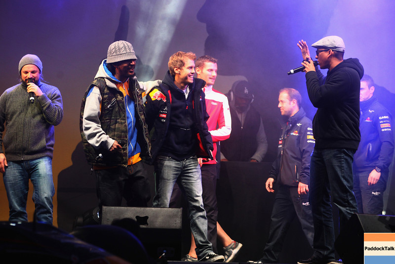 GEPA-22101199522 - FORMULA 1 - World Championship Party. Image shows the band Soehne Mannheims and Sebastian Vettel (GER/ Red Bull Racing). Photo: Getty Images/ Daniel Grund - For editorial use only. Image is free of charge