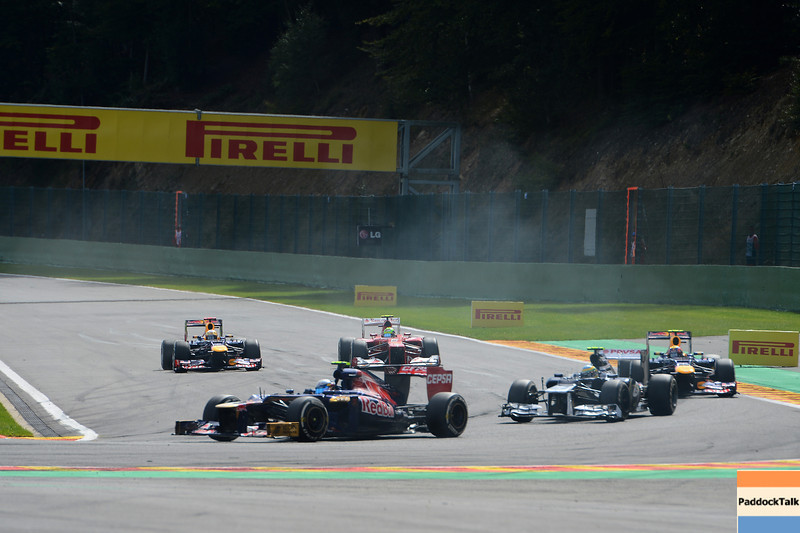 BELGIAN GRAND PRIX F1/2012 - SPA 02/09/2012 - JEAN ERIC VERGNE, BRUNO SENNA, MARK WEBBER, FELIPE MASSA AND SEBASTIAN VETTEL.