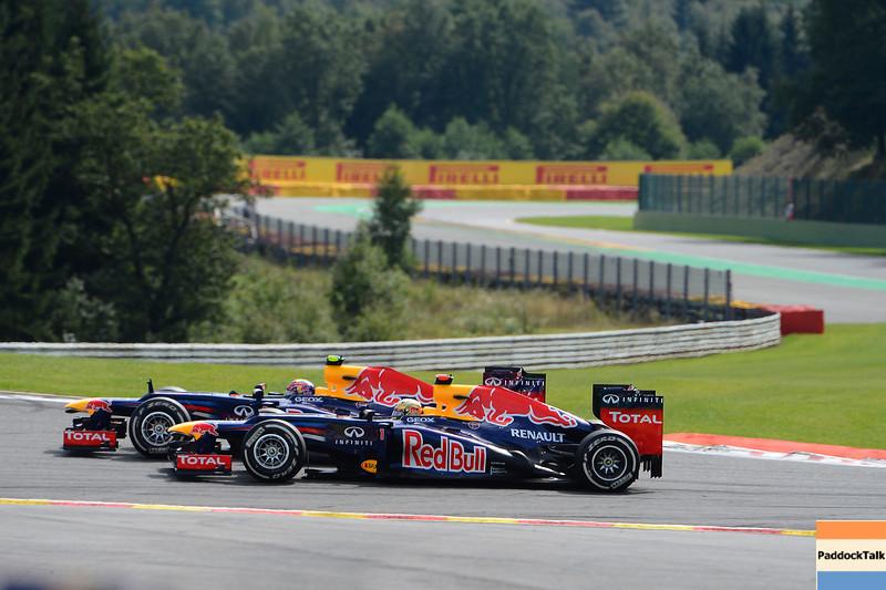 BELGIAN GRAND PRIX F1/2012 - SPA 02/09/2012 - MARK WEBBER AND SEBASTIAN VETTEL.