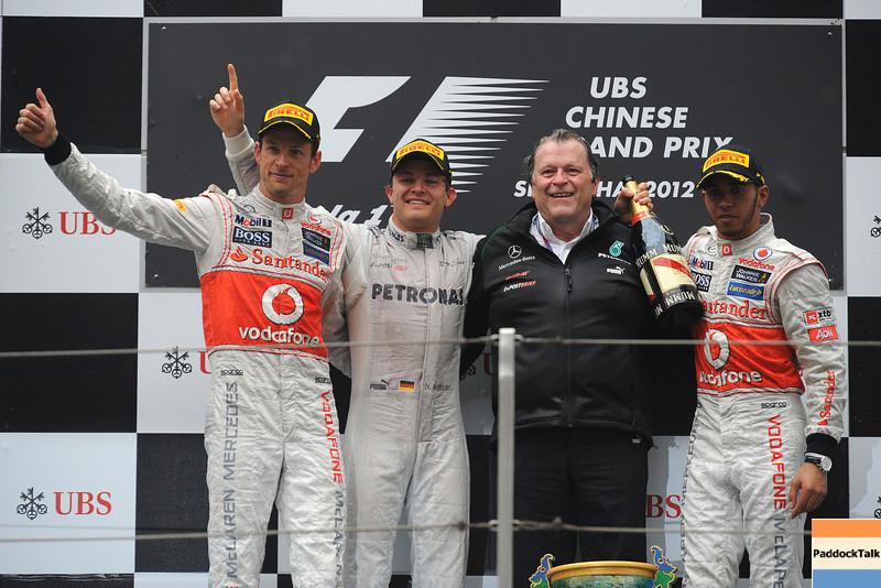 CHINESE GRAND PRIX F1/2012 - SHANGHAI 15/04/2012 - PODIUM: JENSON BUTTON - NICO ROSBERG -NORBERT HAUGH- LEWIS HAMILTON