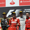VALENCIA (EUROPA) 24/06/2012 - PODIUM: FERNANDO ALONSO AND ANDREA STELLA FERRARI, MICHAEL SCHUMACHER SECOND, KIMI RAIKKONEN THIRD.