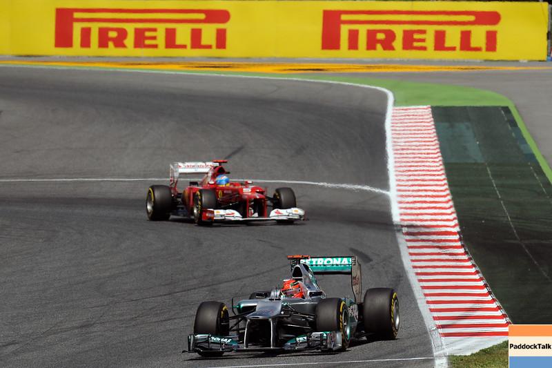 SPANISH GRAND PRIX F1/2012 - BARCELONA 12/05/2012 - MICHAEL SCHUMACHER - FERNANDO ALONSO
