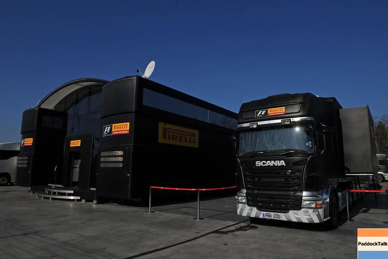 BARCELLONA (SPAIN) 03/03/2012 - TEST F1/2012 - PIRELLI'S TRUCKS Courtesy of Pirelli