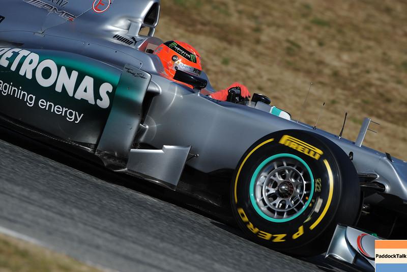 BARCELLONA (SPAIN) 24/02/2012 - TEST F1/2012 - MICHAEL SCHUMACHER Courtesy of Pirelli
