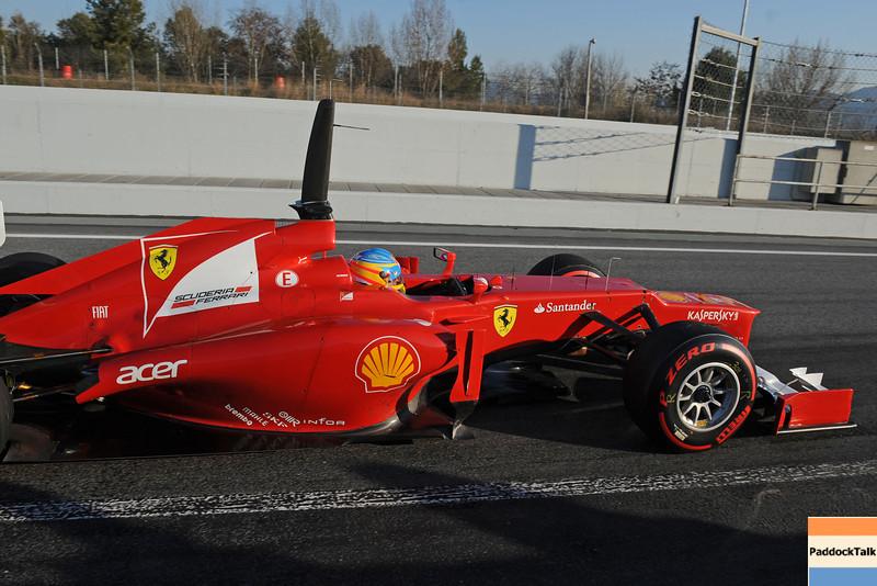 BARCELLONA (SPAIN) 22/02/2012 - TEST F1/2012 - FERNANDO ALONSO Courtesy of Pirelli