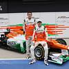 Paul di Resta (GBR) and Nico Hulkenberg (GER)  -  Sahara Force India Formula One Team - VJM05 Launch - Silverstone, UK, 03.02.2012 -  Sahara Force India Formula One Team Copyright Free Image